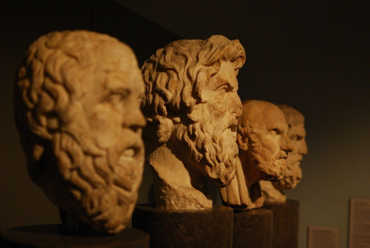 Photo of busts of stoics.