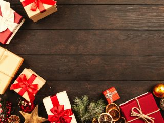 Red gifts on wood